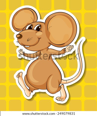 Illustration of a close up mouse smiling - stock vector