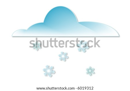 Illustration of a cloud with falling snowflakes - stock vector