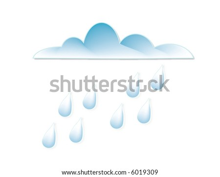 Illustration of a cloud with raindrops - stock vector