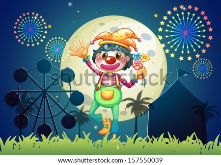 Illustration of a clown at the amusement park - stock vector