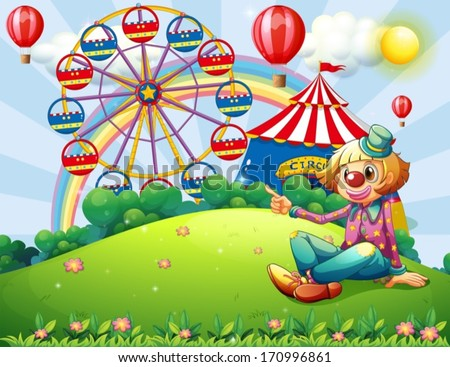 Illustration of a clown at the hilltop with a carnival - stock vector