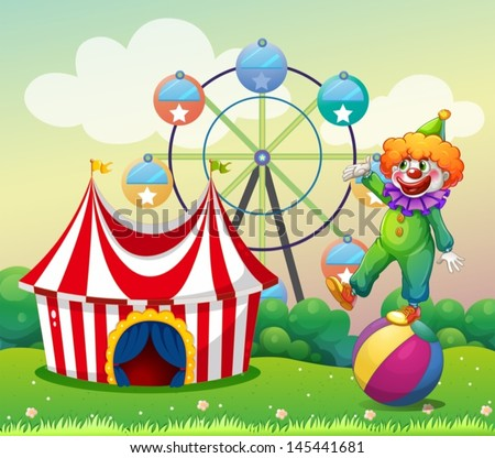 Illustration of a clown standing above the ball at the carnival - stock vector
