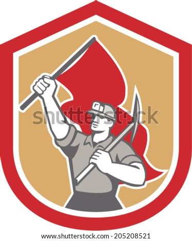 Illustration of a coal miner hardhat with pick axe on shoulder and other hand carrying flag set inside shield crest on isolated background done in retro style. - stock vector