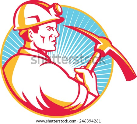 Illustration of a coal miner hardhat with pick axe viewed from side set inside circle and sunburst in background done in retro style. - stock vector