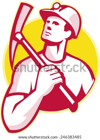 Illustration of a coal miner holding a pick ax on shoulder looking up set inside circle done in retro style. - stock vector