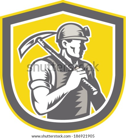 Illustration of a coal miner wearing hardhat with pick axe facing side set inside shield crest done in retro woodcut style.