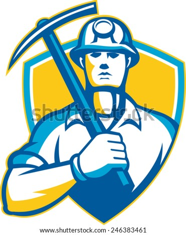 Illustration of a coal miner with pick ax facing front set inside shield done in retro style. - stock vector