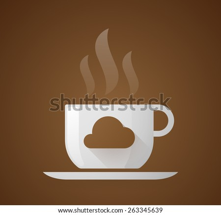 Illustration of a coffee cup with a cloud - stock vector