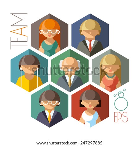 Illustration of a cohesive and professional team of employees - stock vector