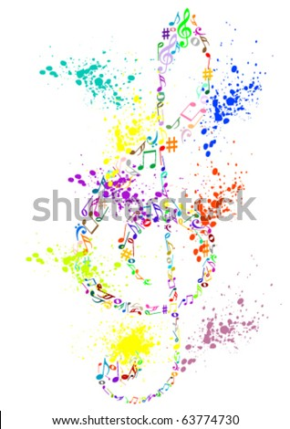 Illustration of a colored stained G clef with music notes