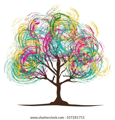 illustration of a colored tree with brush; vector illustration