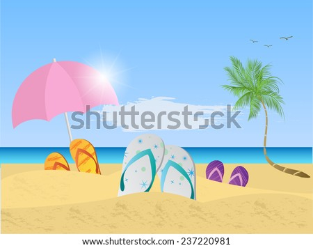 Illustration of a colorful beach scene with umbrella, sandals, palm trees, sand and ocean. - stock vector