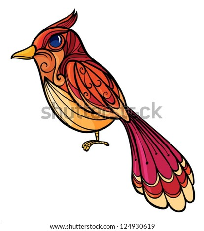Illustration of a colorful bird on a white background - stock vector