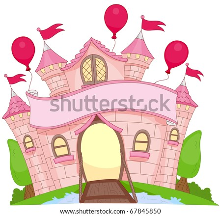 Illustration of a Colorful Castle with Large Balloons Attached to its Walls - stock vector