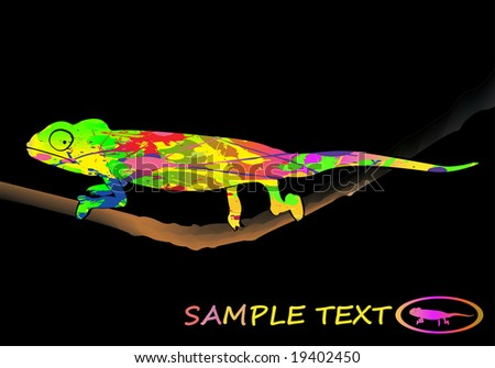 Illustration of a colorful chameleon vector - stock vector