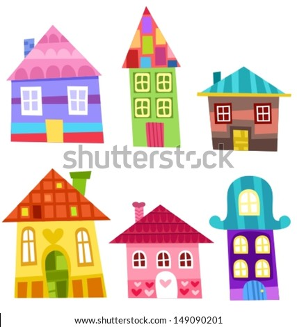 illustration of a colorful houses - stock vector