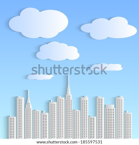 Illustration of a colorful paper city with sky and clouds. - stock vector