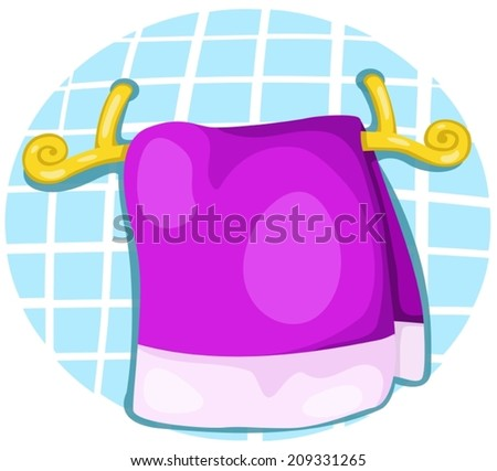 illustration of a colorful towel on the  rack  - stock vector
