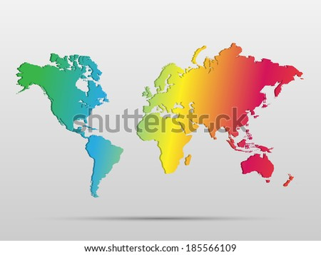 Illustration of a colorful world map isolated on a white background.