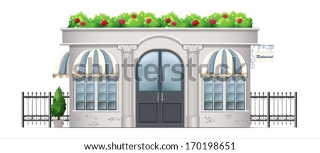 Illustration of a commercial building with plants at the rooftop on a white background - stock vector