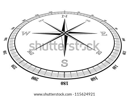 illustration of a compass rose - stock vector