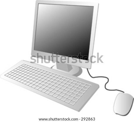 Illustration of a computer lcd monitor with keyboard and mouse