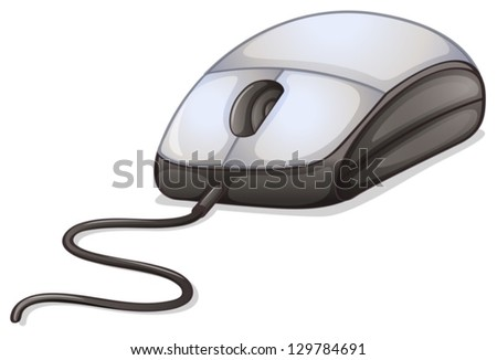 Illustration of a computer mouse on a white background - stock vector