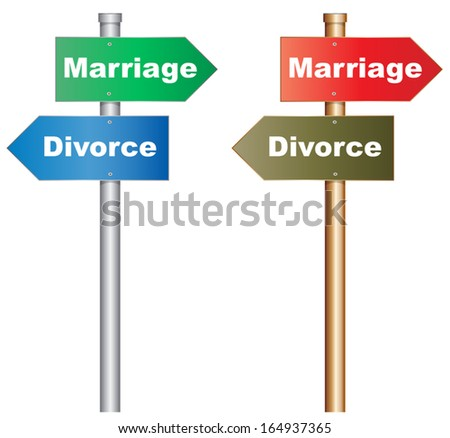 Illustration of  a conceptual signboard about a tough decision about marriage and divorce. EPS10 vector.