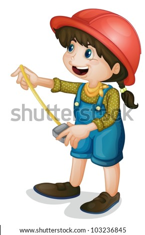 Illustration of a condtruction girl - stock vector