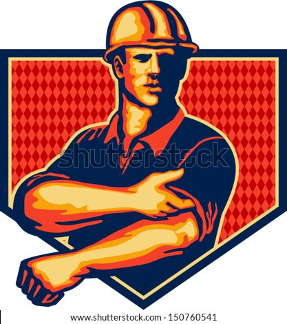Illustration of a construction worker wearing hardhat rolling up sleeve facing front set inside shield done in retro style - stock vector