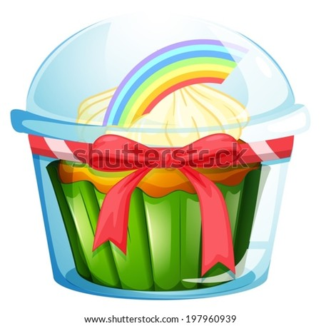 Illustration of a container with a cupcake inside decorated with a ribbon on a white background - stock vector