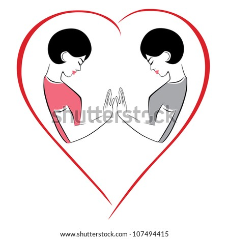 Illustration of a couple gay - stock vector