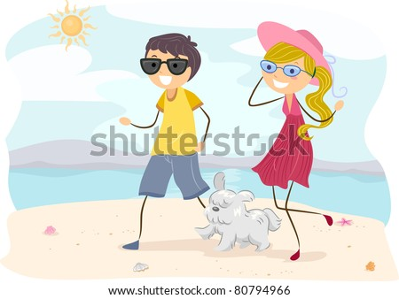 Illustration of a Couple Walking their Dog at the Beach - stock vector