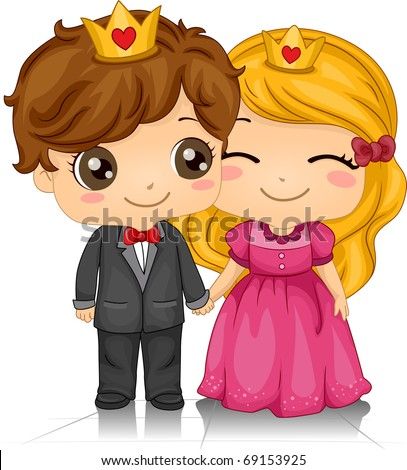 Illustration of a Couple Wearing Crowns on Their Heads - stock vector