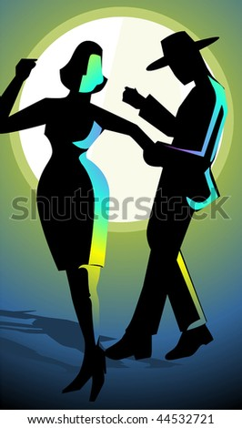 Illustration of a couples dancing with party