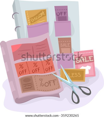 Illustration of a Coupon Collection Compiled in an Album
