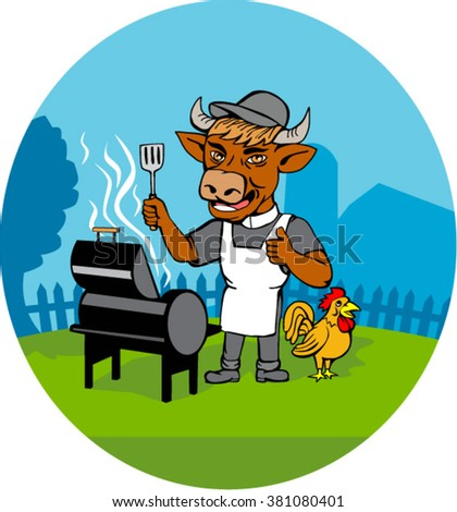 Illustration of a cow barbecue chef holding spatula wearing a minister clerical collar, hat  and apron with grill or smoker and chicken rooster on side set inside oval shape done in caricature style - stock vector