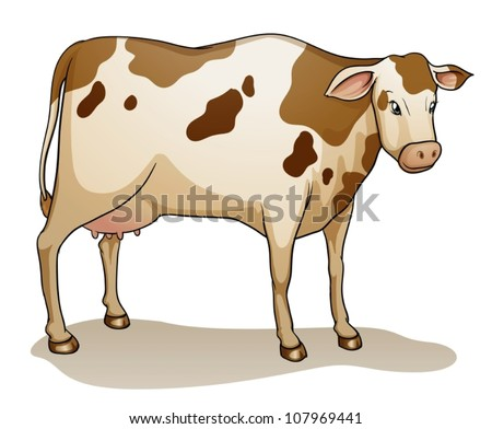 illustration of a cow on a white background - stock vector