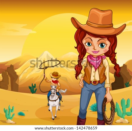 Illustration of a cowboy and a cowgirl at the desert - stock vector