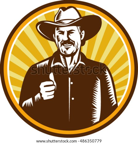 Illustration of a cowboy smiling wearing hat thumbs up facing front set inside circle with sunburst in the background done in retro woodcut style.
