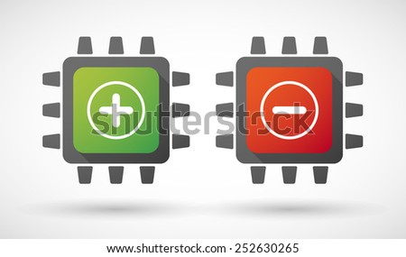 Illustration of a CPU icon set with signs - stock vector