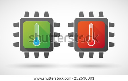 Illustration of a CPU icon set with thermometers - stock vector