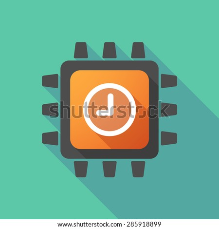 Illustration of a CPU icon with a clock - stock vector