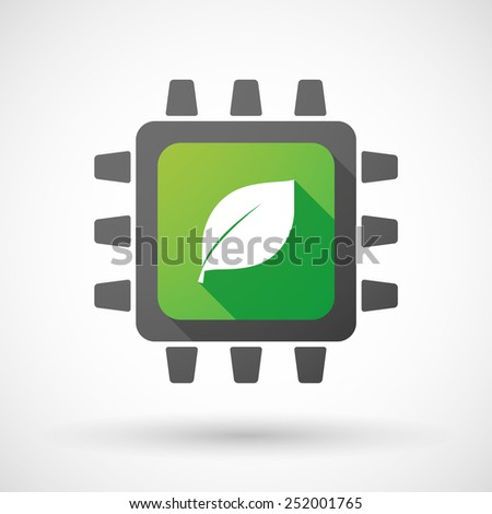 Illustration of a CPU icon with a leaf - stock vector
