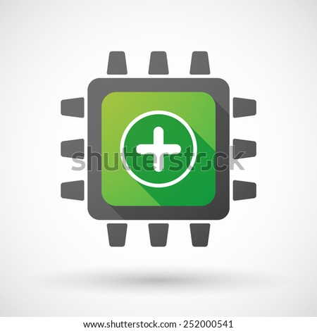 Illustration of a CPU icon with a math sign - stock vector