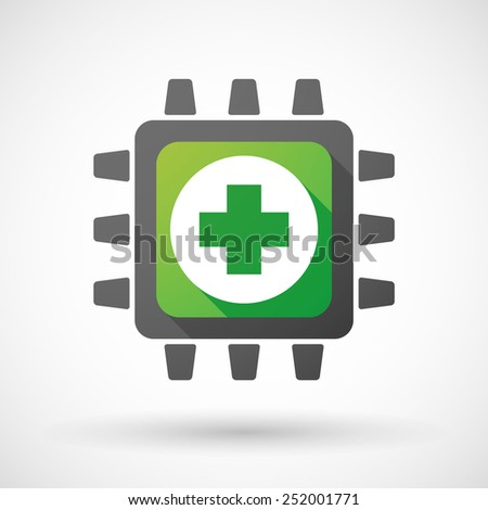 Illustration of a CPU icon with a pharmacy sign - stock vector