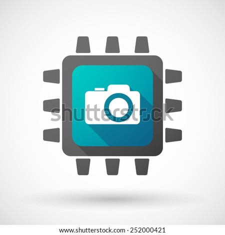 Illustration of a CPU icon with a photo camera - stock vector