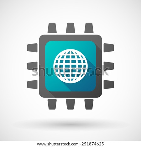Illustration of a CPU icon with a world globe - stock vector