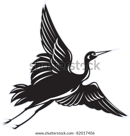 illustration of a Crane flying done in retro woodcut style on isolated white background - stock vector