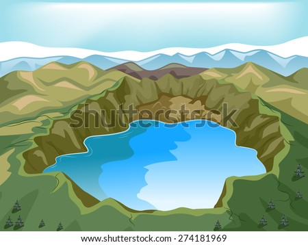 Illustration of a Crater Lake Inside a Volcano - stock vector